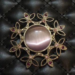 Vintage Purple Victorian Revival Rhinestone Brooch